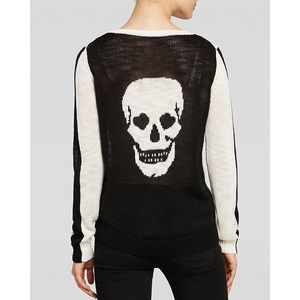 Aqua pullover sweater heart eyes skull intarsia